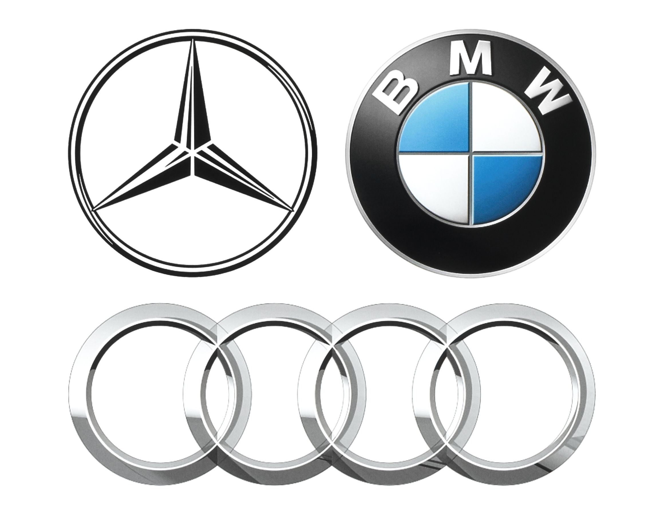 Collection of popular German car logos: Mercedes, BMW and Audi